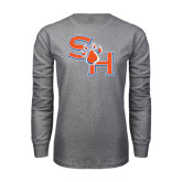 Grey Long Sleeve TShirt-SH Paw Official Logo Distressed