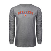 Grey Long Sleeve TShirt-Arched Bearkats w/Paw