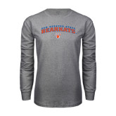 Grey Long Sleeve TShirt-Arched Sam Houston State Bearkats w/Paw