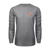 Grey Long Sleeve TShirt-SH Paw Official Logo