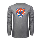 Grey Long Sleeve TShirt-Bearkat Head