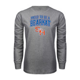 Grey Long Sleeve TShirt-Proud To Be A Bearkat Arched