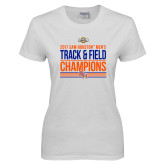 Ladies White T Shirt-2017 Southland Conference Mens Track and Field