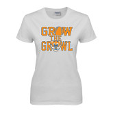 Ladies White T Shirt-Grow the Growl - Baseball