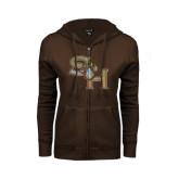 ENZA Ladies Brown Fleece Full Zip Hoodie-SH Paw Official Logo Distressed Foil