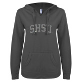 ENZA Ladies Dark Heather V Notch Raw Edge Fleece Hoodie-Arched SHSU Silver Soft Glitter
