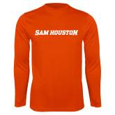 Performance Orange Longsleeve Shirt-Sam Houston Wordmark