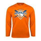 Syntrel Performance Orange Longsleeve Shirt-Softball Design w/ Bats and Plate