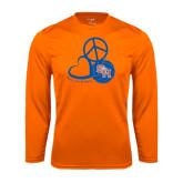 Syntrel Performance Orange Longsleeve Shirt-Volleyball Design