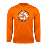 Syntrel Performance Orange Longsleeve Shirt-Volleyball Stars Design