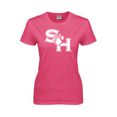 Ladies Fuchsia T Shirt-SH Paw Official Logo
