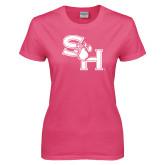Ladies Fuchsia T Shirt-SH Paw Official Logo