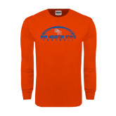 Orange Long Sleeve T Shirt-Arched Football Design