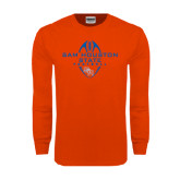 Orange Long Sleeve T Shirt-Tall Football Design