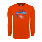 Orange Long Sleeve T Shirt-Basketball in Ball