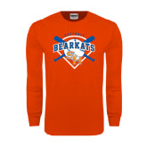 Orange Long Sleeve T Shirt-Softball Design w/ Bats and Plate