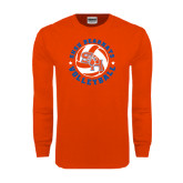 Orange Long Sleeve T Shirt-Volleyball Stars Design