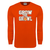 Orange Long Sleeve T Shirt-Grow the Growl