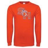 Orange Long Sleeve T Shirt-SH Paw Official Logo