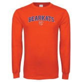 Orange Long Sleeve T Shirt-Arched Bearkats w/Paw