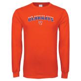 Orange Long Sleeve T Shirt-Arched Sam Houston State Bearkats w/Paw