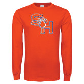 Orange Long Sleeve T Shirt-SH Paw Official Logo Distressed