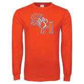 Orange Long Sleeve T Shirt-SH Paw Official Logo Distressed