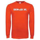 Orange Long Sleeve T Shirt-Grow the Growl Horizontal