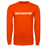 Orange Long Sleeve T Shirt-Sam Houston Wordmark