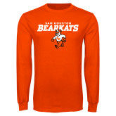 Orange Long Sleeve T Shirt-Sam Houston Primary Mascot Lock Up