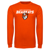 Orange Long Sleeve T Shirt-Sam Houston Secondary Mascot Lock Up