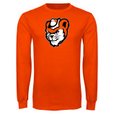 Orange Long Sleeve T Shirt-Bearkat Head