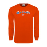 Orange Long Sleeve T Shirt-Arched Sam Houston State Bearkats w/Paw