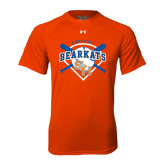 Under Armour Orange Tech Tee-Softball Design w/ Bats and Plate