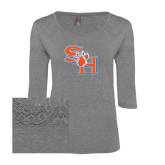 Ladies Grey Heather Tri Blend Lace 3/4 Sleeve Tee-SH Paw Official Logo
