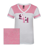 Ladies White/Bright Pink Juniors Varsity V Neck Tee-SH Paw Official Logo Distressed Foil