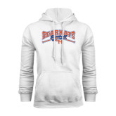 White Fleece Hood-Baseball Design