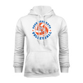 White Fleece Hood-Volleyball Stars Design