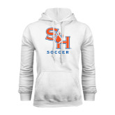 White Fleece Hood-Soccer