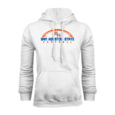 White Fleece Hood-Arched Football Design