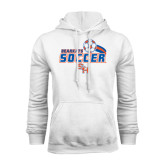 White Fleece Hood-Soccer Swoosh