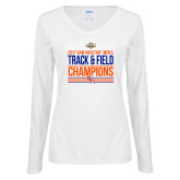 Ladies White Long Sleeve V Neck T Shirt-2017 Southland Conference Mens Track and Field