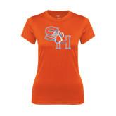 Ladies Syntrel Performance Orange Tee-SH Paw Official Logo