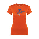 Ladies Syntrel Performance Orange Tee-Tall Football Design