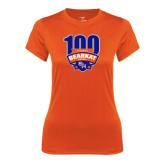 Ladies Syntrel Performance Orange Tee-100th Football Season