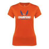 Ladies Syntrel Performance Orange Tee-2016 Southland Conference Champions Indoor Track & Field