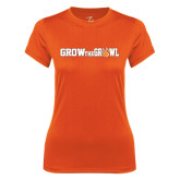 Ladies Syntrel Performance Orange Tee-Grow the Growl Horizontal