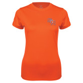 Ladies Syntrel Performance Orange Tee-SH Paw Official Logo