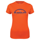 Ladies Syntrel Performance Orange Tee-Arched Football Design
