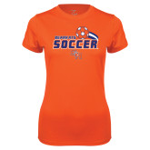 Ladies Syntrel Performance Orange Tee-Soccer Swoosh